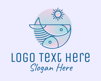 Fish Farm - Simple Gradient Fishery logo design