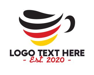 German - Germany Stripe Cafe logo design