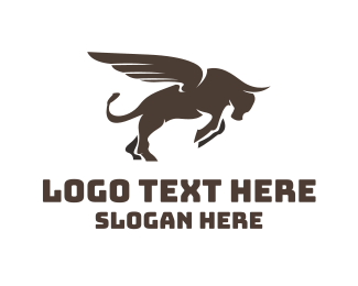 Ox - Winged Charging Bull logo design