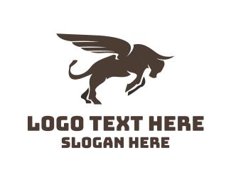 Stock Market - Winged Charging Bull logo design