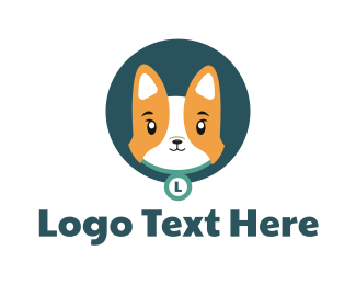 Grooming - Cute Corgi Dog logo design