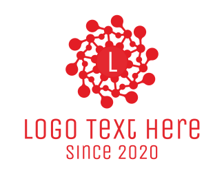 Microbiology - Red Virus Lettermark logo design