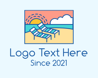 Sunbathing - Summer Beach Sunbathing logo design