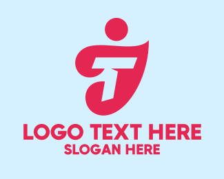 Advertising Agency - Red Letter T Person logo design