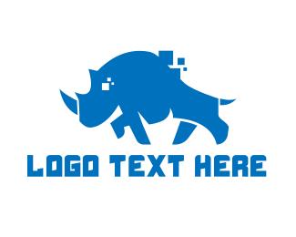 Blue Rhino - Blue Rhino Pixel logo design