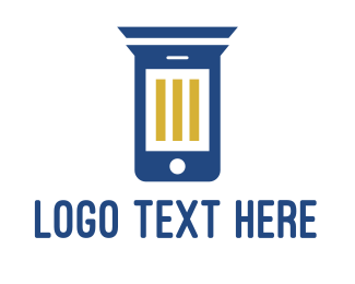 Blue Phone - Column Phone logo design