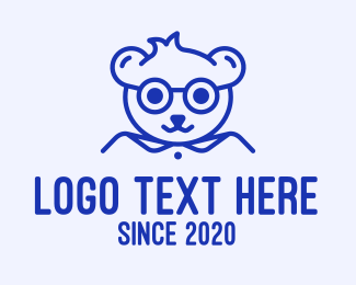 Eye Glasses - Cute Smart Bear logo design