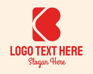 Boyfriend - Red Heart Letter B logo design