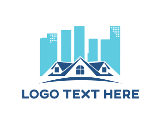 House - Blue Town logo design