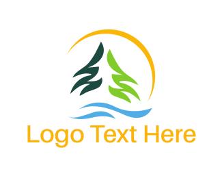 Pine - Forest River logo design