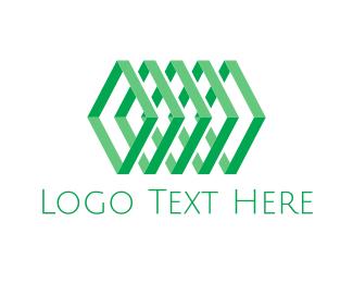 Chain - Geometric Green Chain logo design