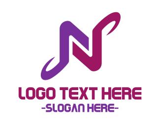Letter N - Purple Letter N logo design