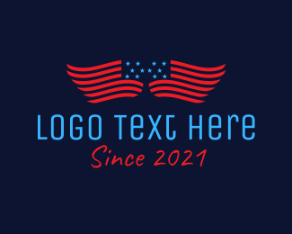 Nationalistic - American Flag  Wings logo design