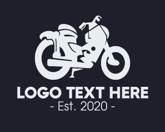 Riding - Gray Motorcycle logo design