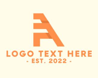 Orange Architectural Letter A Logo