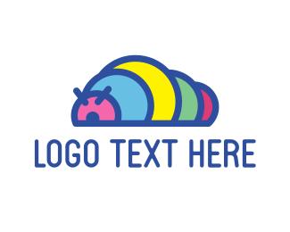 Worm - Colorful Caterpillar logo design