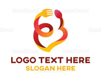 Dining - Heart Ribbon Restaurant logo design