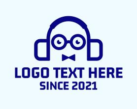 Geek - Nerd Bowtie Headphones logo design