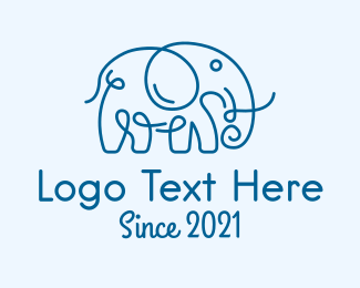 Elephant Sanctuary - Blue Curly Elephant  logo design