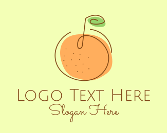 Farm Produce - Orange Fruit Outline  logo design
