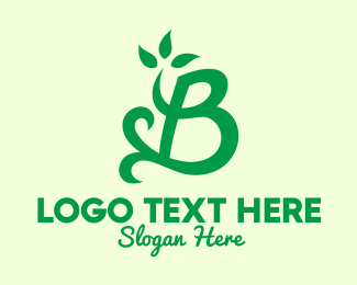 Calligraphy - Green Natural Letter B logo design