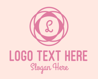 Interior Decor - Pink Floral Fashion Letter  logo design