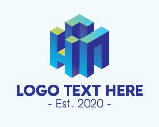 Infrastructure - 3D Blue Building HN logo design