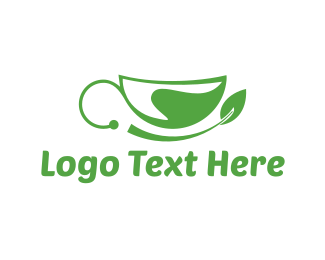 Tea Cup - Green Leaf Cup logo design