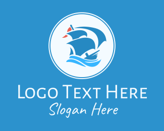 Ship - Blue Sailing Ship logo design