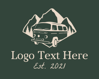 Trailer Van - Camping Travel Van logo design