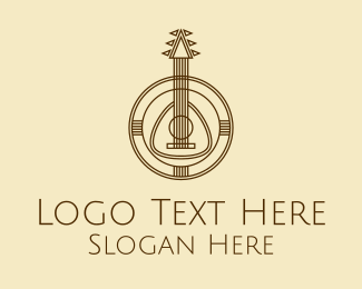 Pick - Traditional Guitar Instrument logo design