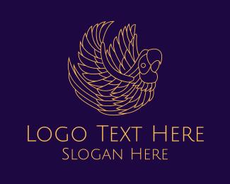 Minimal - Gold Minimal Parrot Bird logo design