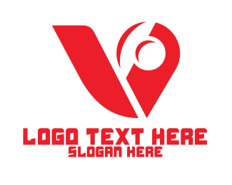 Turbo - Red Mechanical Letter V logo design