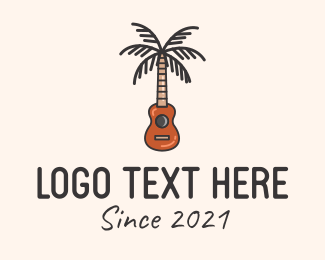 Acoustic Band - Palm Tree Guitar  logo design