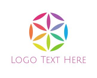 Kaleidoscope - Colorful Flower Circle logo design