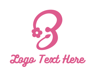Clothing Shop - Pink Flower B Stroke logo design