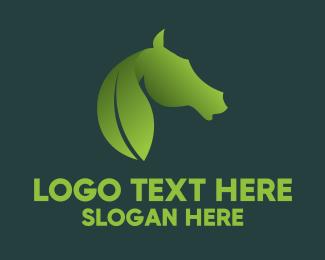 Green Horse - Leaf & Horse logo design