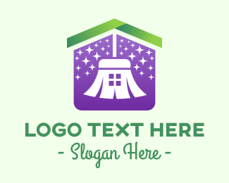 Home Cleaning Service - House Cleaning Broom Sweeping  logo design