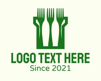 Restaurant - Green Fork Turret logo design
