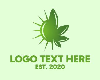Bacteria - Green Cannabis Sun logo design