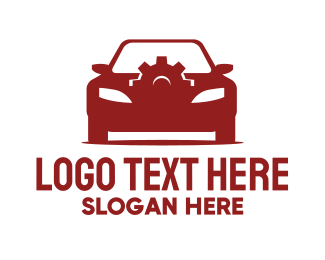Taxi Service - Red Car Gear  logo design
