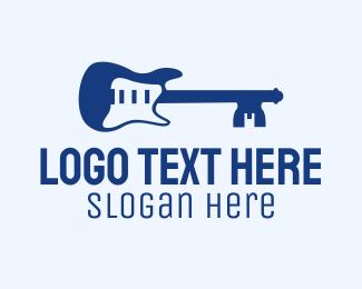 Guitar Lesson - Blue Key Guitar  logo design