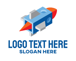 Outer Space - 3D Isometric Space Rocket  logo design
