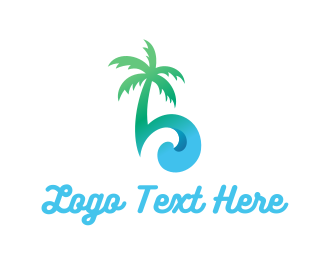 Water - Palm & Waves logo design