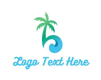 Island - Palm & Waves logo design