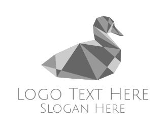 Grey Bird - Grey Crystal Duck logo design