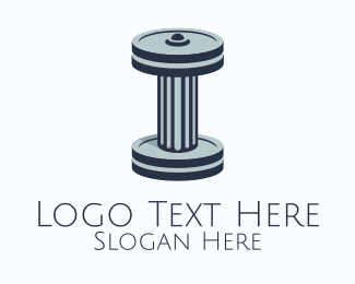 Ionic - Ancient Dumbbell Column logo design