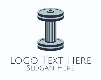 Dumbbell - Ancient Dumbbell Column logo design