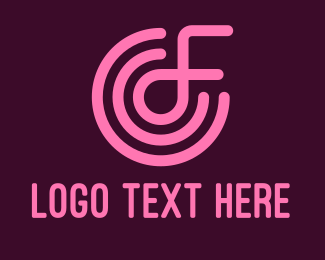 Dj Party - Pink Letter F logo design