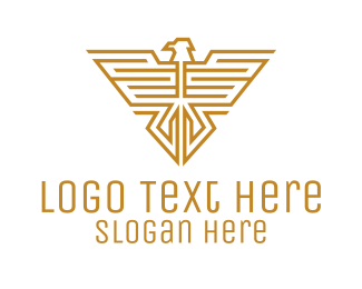 Minimalist - Golden Eagle Insignia logo design